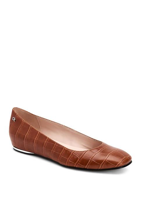 Calvin Klein Heidy Croc Embossed Flats