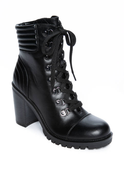 Jetti Lace Up Heeled Hiker Boots