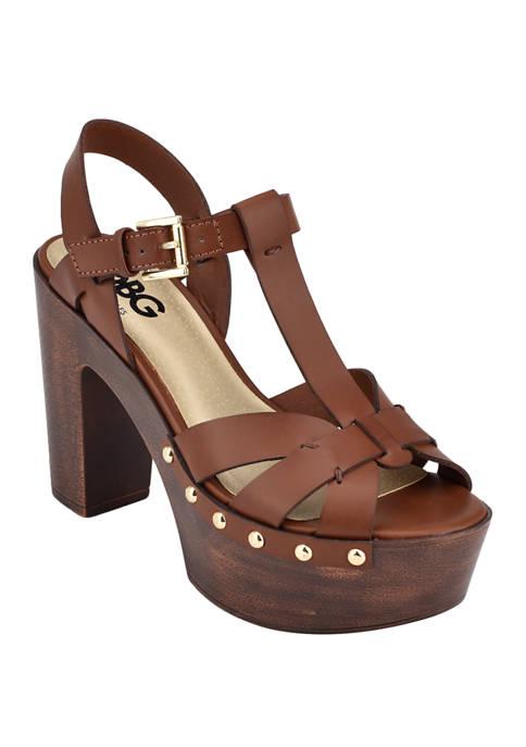 GBG Los Angeles Jinnie Platform Wood Bottom Sandals