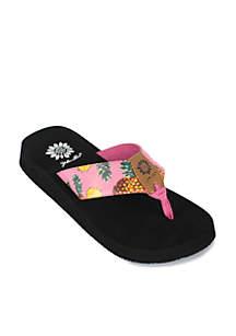 Pina Colada Pineapple Print Flip Flops