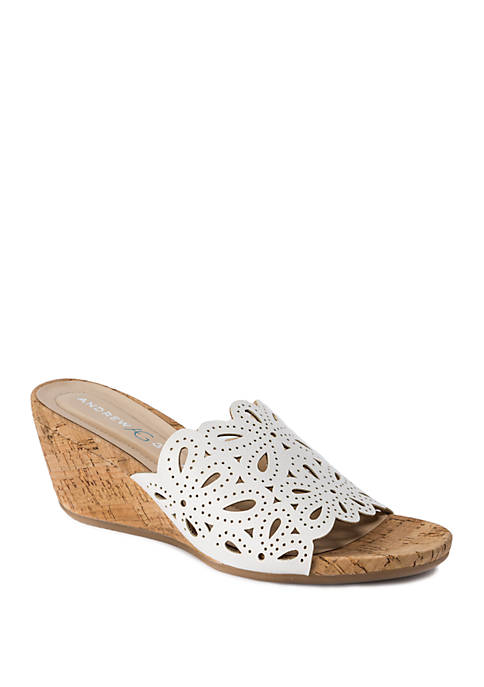 Andrew Geller® Flavie Laser Cut Out Sandal Slides