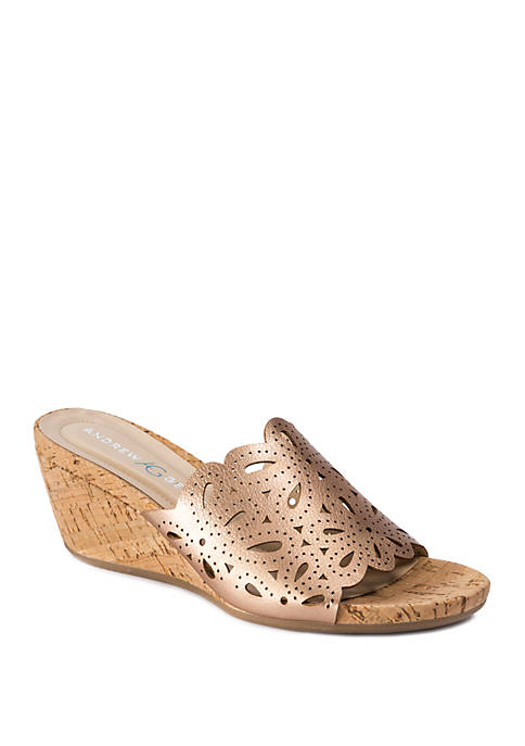 Andrew Geller® Flavie Laser Cut Out Slide Sandals
