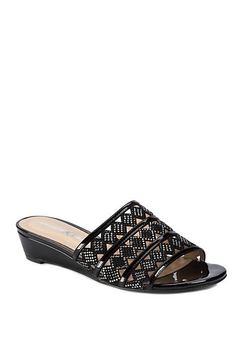 Andrew Geller® Idonna Laser Cut Out Sandal Slides