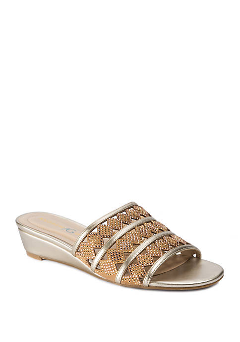 Andrew Geller® Idonna Laser Cut Out Slide Sandals