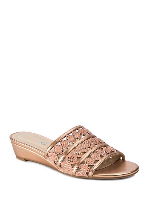 Andrew Geller® Idonna Laser Cut Out Slide Sandals
