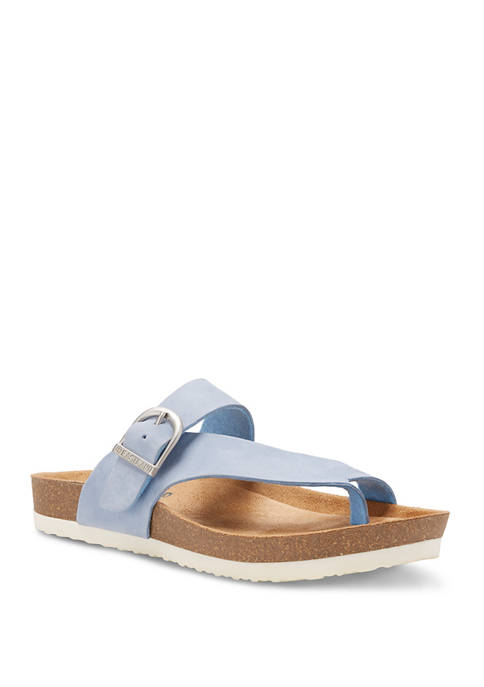 Strap and Buckle Thong Sandals