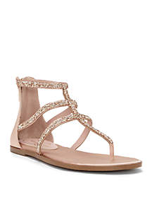 Jeweled Strappy Flat Sandal