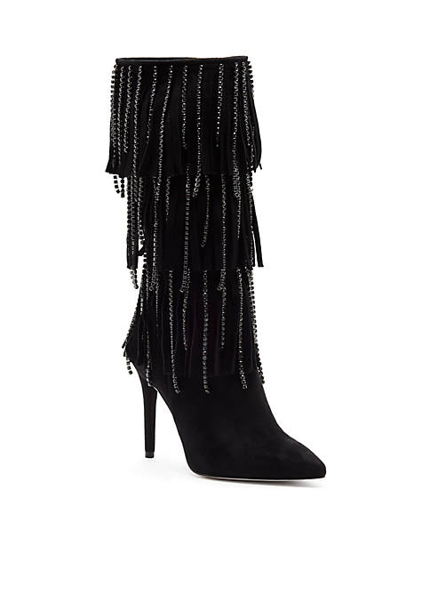 Pointed Toe High Heel Fringe Boot