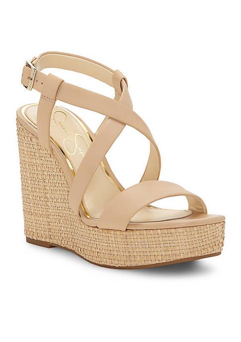 Jessica Simpson Salona Strappy Wedge Basket Weave Wedge