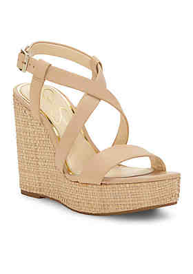 2a9691e0fd6 Jessica Simpson Salona Strappy Wedge Basket Weave Wedge Sandal ...