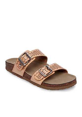Madden Girl Two Strap Perforated Footbed Sandals kHCNJcy