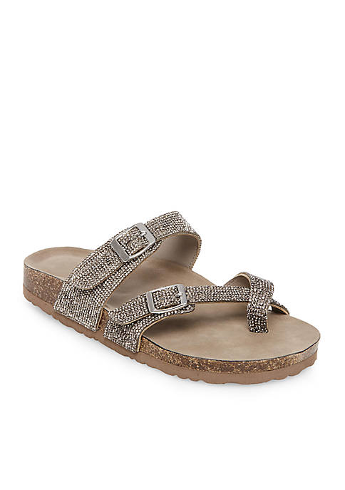 Toe Ring Footbed Glitter Sandals