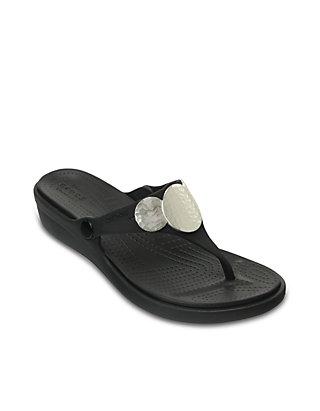 1833ec7bb3c7 Crocs Sanrah Embellished Wedge Flip Flops