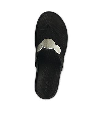 0797ee471730 ... Crocs Sanrah Embellished Wedge Flip Flops ...