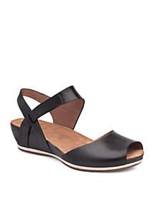 Vera Black Burnished Sandal