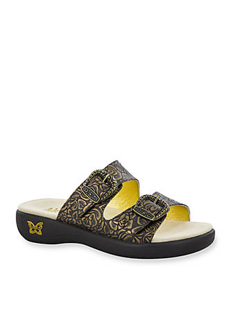buy online new Alegria Leather Buckle Detail Slide Sandals - Jade where to buy low price clearance view bxAvFXjn8