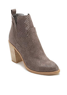 Shay Perforated Stacked Heel Bootie
