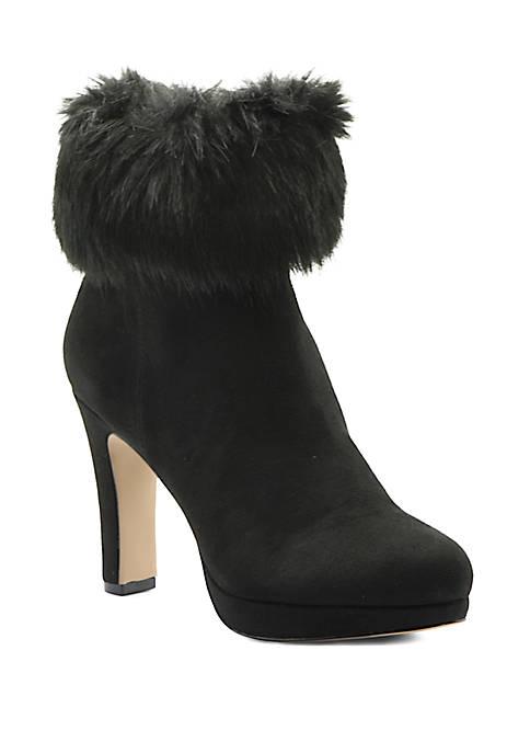 Adrienne Vittadini Peeve Fur Cuff Dress Booties