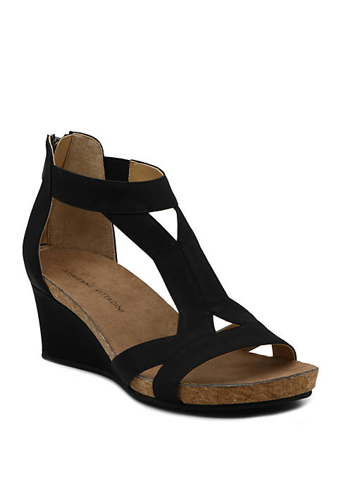 Adrienne Vittadini Thayer T Strap Wedge Sandals