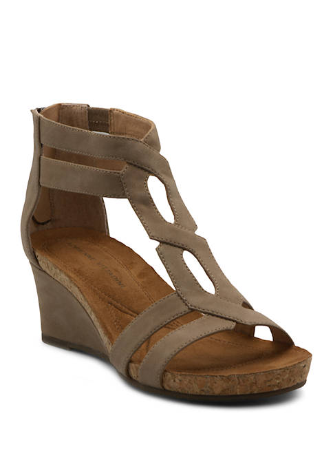 Adrienne Vittadini Tribute T-Strap Wedge Sandals