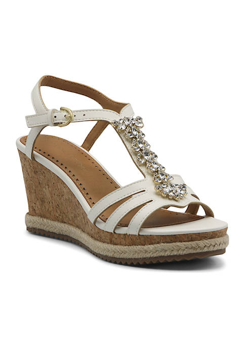 T-Strap Jeweled Wedges