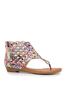 Jewel Cut Back Zip Thong Sandal