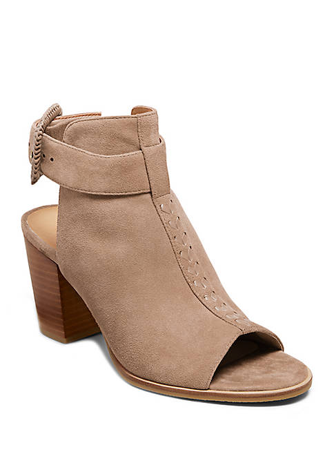 Izzie Suede Open Toe Booties