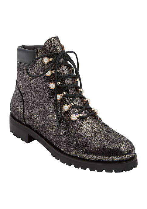 Peyton Lace Up Pearl Combat Booties
