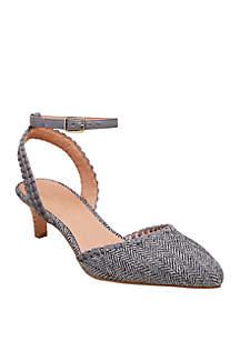 Jack Rogers Tinsley Herringbone Kitten Heel Sandals