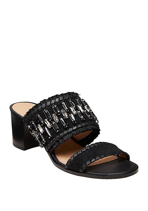 Beatrix Jeweled Suede Heel Sandals