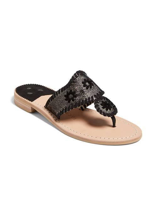 Metallic Jacks Flat Sandals