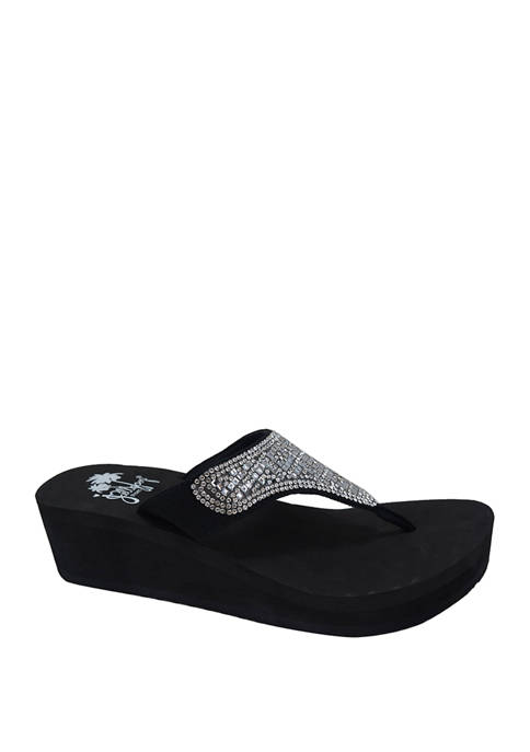 Jellypop Sparkle Wedge Flip Flop Sandals