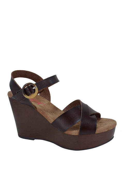 Brette Crossband Wedge Sandals