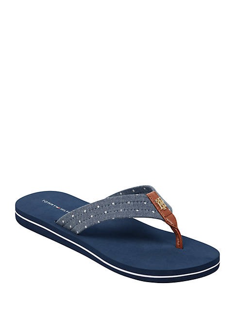 Tommy Hilfiger Caryce Chambray Dot Flip Flops