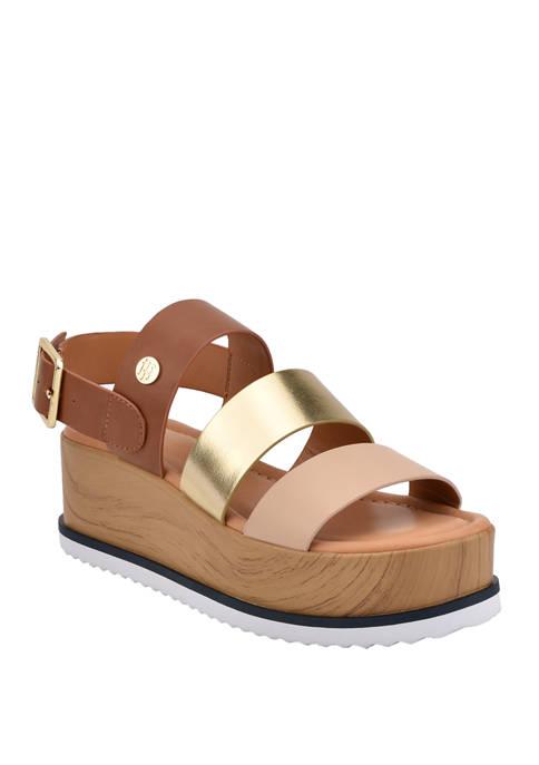 Eanda Wood Platform Sandals
