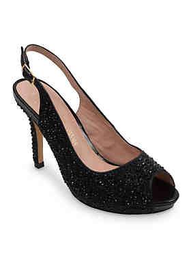ad99a9e727f2c Lauren Lorraine Peep Toe Low Platform Sling Heel ...