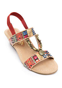 9fa2a7c4b ... New York Transit Tempation Ornamented Low Wedge Sandals