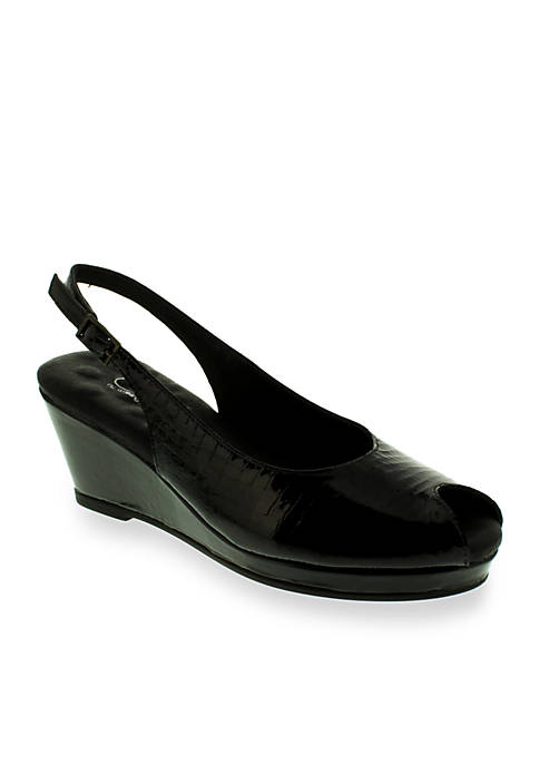 Natasha Slingback Wedge Alligator - Available in Extended Sizes - Online Only