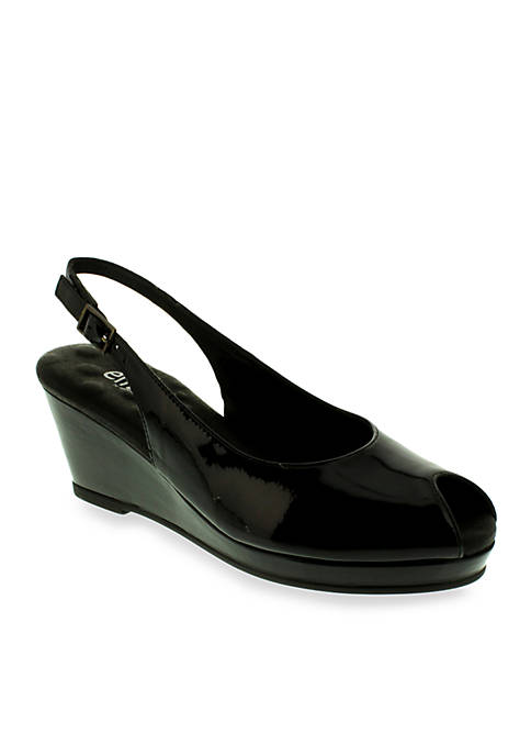 Natasha Peeptoe Slingback Wedge Patent Black - Available in Extended Sizes - Online Only