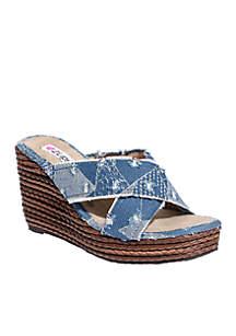 Too Wisk Criss Cross Wedge Sandals