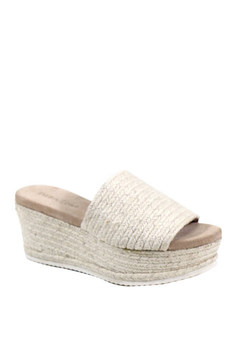 Diba True® Bell Song Raffia Flatform Slide Sandals