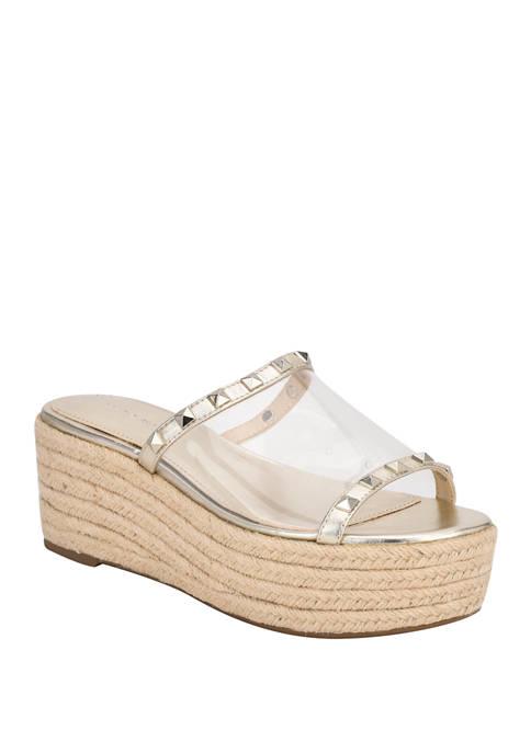 Marc Fisher Jelise Clear Flatform Sandals