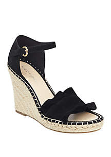 Marc Fisher Kickoff Ruffle Espadrille Wedge Heels