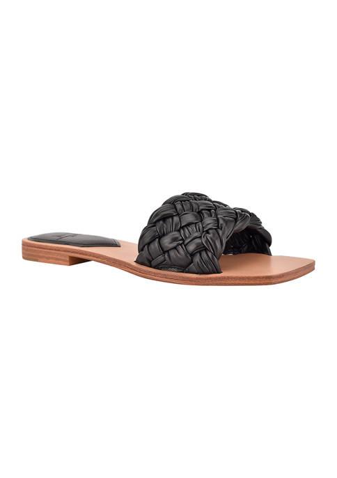 Reanna Puffy Woven Flat Sandals