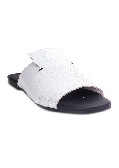 Camryn Black Crackle Flat Slides