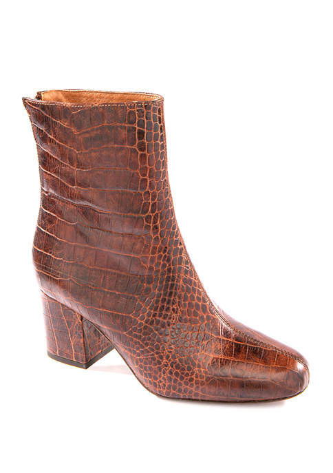 Free People Faux Crocodile Cecile Ankle Boots