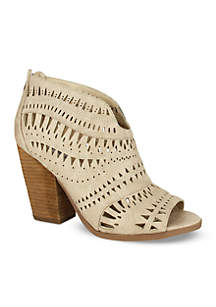 Groove Thang Open Toe Laser Cut Bootie