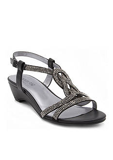 London Fog® London Fog Women's Macey Strappy Dress Sandal with Stones on Demi Wedge