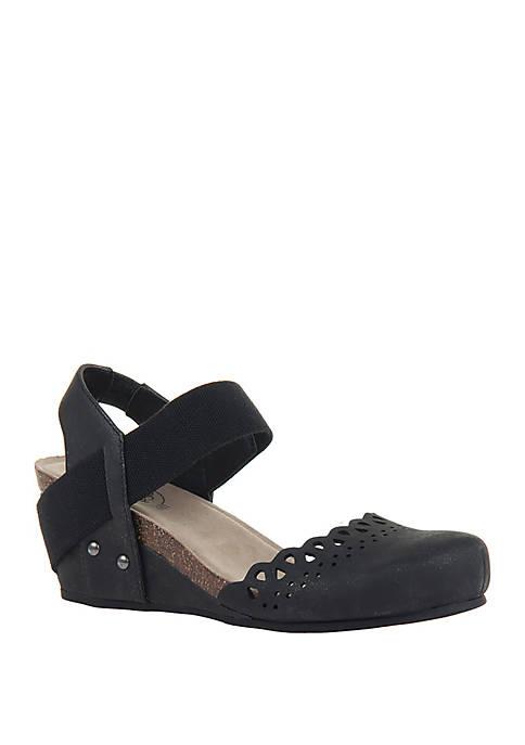Textile Wedge Sandals