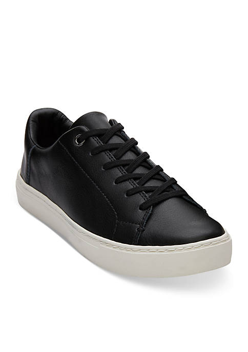 TOMS® Black Leather Womens Lenox Sneaker